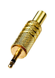 1-004G, штекер аудио 2.5мм  моно металл  на кабель  позолоченный