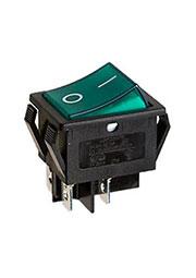R595BGNBT2-G, переключатель клавишный 2хON-OFF с зеленой подсветкой 250В 16A (аналог B127A)
