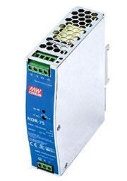 NDR-75-24, AC-DC, 77Вт, вход 90 264V AC, 47 63Гц /127 370В DC, выход 24В/3.2A, рег. вых 24 28В, изол